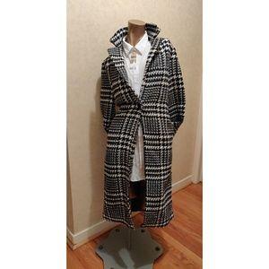 Black and White Plaid Long Coat